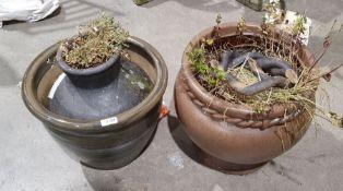 Three ceramic plant pots (3)