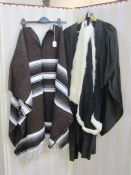 Woollen Peruvian poncho, a clerical gownlabelled 'LDE & Ravenson', a swansdown trimmed gown