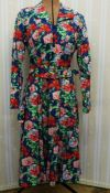 1970's and possibly earlier vintage dressesto include blue cotton dress with front button