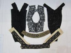 Victorian black lace fichou , a Victorian black satin and beaded fichou, a black lace beaded dress