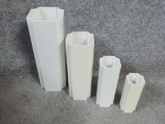 A set of four 1970's white plastic octagonal Jaques Bedat vases. Signed to base Jaques Bedat, made