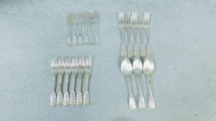 A collection of antique silver plate cutlery. Some with shell motifs. Made by CE &Co and makers mark