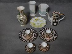 A collection of various ceramics including a Royal Crown Derby Imari pattern coffee set and two