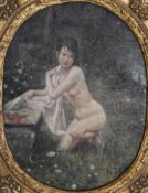 Portrait of a nude lady, oil on board with gilt wooden frame, indistinctly signed, 63 x 53cm (24.8 x