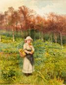 By Alice Squire (1840 -1936) Gathering Wild Flowers, watercolour on paper, 21.08 x 6.35cm (8.3 x 2.5