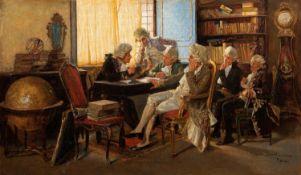 By Augusto Daini (Italian, 1860-1920) The Dilettanti Society in Rome, Italy, oil on canvas, 50.0 x