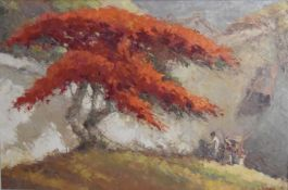 By Frits Lucien Ohl (Indonesian, 1904-1976), Flamboyant Tree, oil on canvas, 91.40 x 60.00 cm (36. x