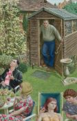 Attributed to Paul Birkbeck (British, b. 1939) The Gardener & The Garden Party, watercolour and