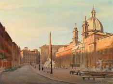 By Julian Barrow (British, 1939-2013) Fiumi Fountain, Piazza Navona, Rome, oil on canvas, 45.7 x