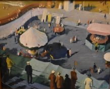 Attributed to Dame Laura Knight (British, 1877-1970), Fairground, oil on board, 49.5 x 39cm (19.5 x