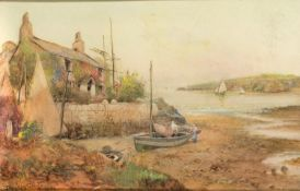 By Joseph Hughes Clayton (British, 1870-1930), Anglesey Cottage and Fishing boat scene, watercolour,