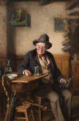 By Hermann Armin von Kern (Slovakian, 1838-1912), Alter Geigenspieler bei einem Glas Wein in der