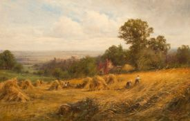 By Henry John Kinnaird (British,fl.1880-1920), Bringing in the Hay, oil on canvas, 40.6 x 61.0 cm (