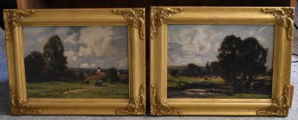 By William Charles Rushton (British, 1860-1921), a pair of oil on board landscapes, 24.1 x 35.6cm (