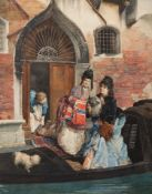 By Cesare Maccari (Italian, 1840-1919), Venetian Ladies Departing, Roma 1873, watercolour and