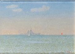 By T. Douly (American, 1942-) US Ohio at Spithead 1986 Summer oil on board, 16x 22.25cm (6.30 x 8.76