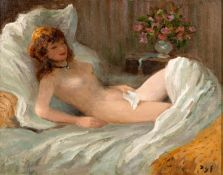 By Marcel Dyf (French, 1899-1985) Le nu au Médaillon, oil on canvas, 46.5x 55.4cm (18.3x 21.8
