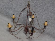 An antique style twisted brass five branch chandelier with a gilded finish. H.60 W.65cm