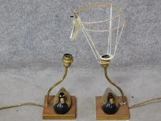 A pair of duck form table lamps retailed by Christopher Wray. H.50cm