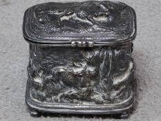 An French antique silvered bronze sculpted trinket box with various hunting scenes by French