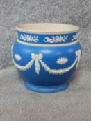 A Victorian Copeland blue and white Jasperware planter with swags and bow motifs, a rope effect