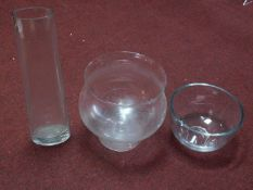 Two glass vases together with a large pedestal bowl. H.60cm (tallest)