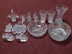 A miscellaneous collection of cut glass and crystal items including a pair of Orrefors Crystal