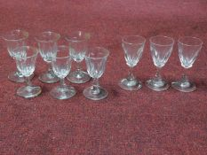 A set of six and a set of three antique blown glass cordial glasses with rough pontils.