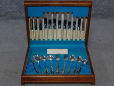 A Vintage canteen of Seymour Smith Ltd of Sheffiled 'Moss Rose' design silver plated cutlery. One