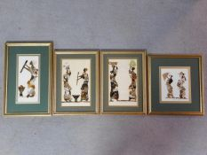 Four framed and glazed African tribal collages made from butterfly wings. One signed Joshua