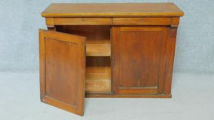 An early 19th century mahogany chiffonier with two frieze drawers above panel doors enclosing