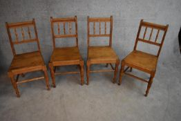 A set of four late 19th century beech framed dining chairs with panel seats. H.90x45cm