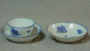 A collection of 18th century blue and white porcelain. Including a blue rimmed hard paste