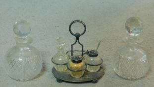 A collection of cut glass items. Including two antique diamond cut crystal perfume bottles with