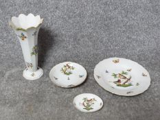 A collection of hand painted Herend porcelain pieces. Including a Queen Victoria design trumpet