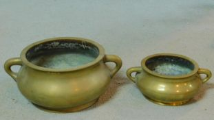 Two antique Chinese brass censers. Six character mark to base.