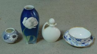 A collection of hand painted Danish porcelain items. Including Royal Copenhagen blue and white