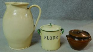 A large 19th century cream stoneware Doulton Lambeth Jug, impressed mark to base along with an
