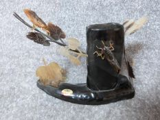 A vintage Chinese carved buffalo horn sculpture pen pot with cicadas and leaves made by Blooms.