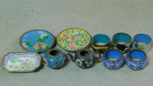 A collection of antique and vintage enamel items. Including a hand painted Chinese Canton enamel