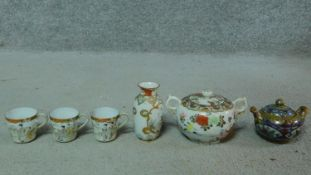 A collection of antique signed ceramics. Including a Japanese hand painted and gilded eggshell