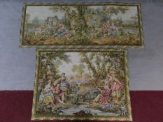 Two antique Aubusson style needlepoint tapestries both with foliate design borders. Depicting two