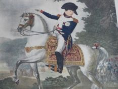 A framed and glazed 19th century hand coloured engraving of Napoleon I by Philibert-Louis Debucourt,