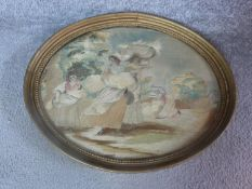 A carved gilt framed and glazed Georgian antique silk embroidered watercolour of a harvest scene