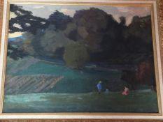A gilt framed oil on canvas by French artist Jules Flandrin (1871-1947).