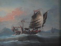 A carved gilt framed and glazed Chinese late 19th/early 20th century gouache of a Chinese Junk.