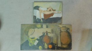 An oil on canvas depicting a nude woman on a bed together with a still life oil on panel. 81x41cm (