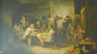 An early 19th century oak framed oil on canvas, tavern gathering, unsigned. 79x63cm