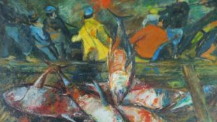 George Manchester (British 1922-1996) Large framed oil on board, tuna catch, monogrammed. 72x108cm