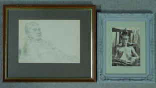 George Manchester (British 1922-1996) Framed and glazed pencil sketch, portrait, signed and an ink